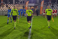 assistant referee Nathan DHooge , referee Viki De Cremer , assistant referee Michele Seeldraeyers pictured before a female soccer game between  AA Gent Ladies and Standard Femina de Liege on the 8 th matchday of the 2020 - 2021 season of Belgian Scooore Womens Super League , friday 20 th of November 2020  in Oostakker , Belgium . PHOTO SPORTPIX.BE | SPP | STIJN AUDOOREN