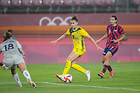 KASHIMA, JAPAN - AUGUST 5: Steph Catley #7 of Australia during a game between Australia and USWNT at Kashima Soccer Stadium on August 5, 2021 in Kashima, Japan.