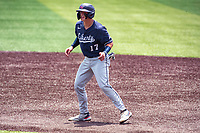 Liberty Flames second baseman Will Wagner (17) leads off first base against the Duke Blue Devils in NCAA Regional play on Robert M. Lindsay Field at Lindsey Nelson Stadium on June 4, 2021, in Knoxville, Tennessee. (Danny Parker/Four Seam Images)