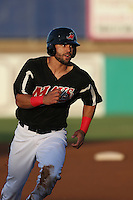 Zach Cone (22) of the High Desert Mavericks runs the bases during a game against the Inland Empire 66ers at Mavericks Stadium on May 6, 2015 in Adelanto, California. Inland Empire defeated High Desert, 10-4. (Larry Goren/Four Seam Images)
