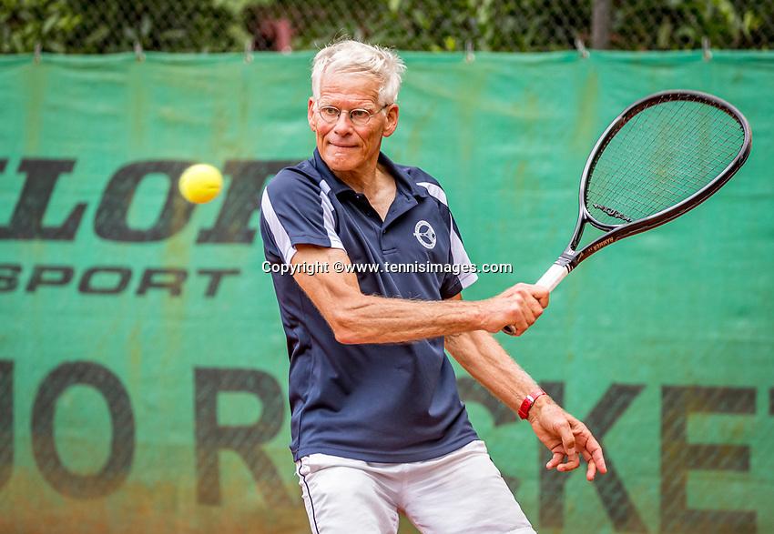 Hilversum, The Netherlands,  August 20, 2021,  Tulip Tennis Center, NKS, National Senior Tennis Championships, Men's Single 70+,  Huug van Wingerden (NED)<br /> Photo: Tennisimages/Henk Koster