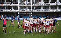 6th February 2021; Recreation Ground, Bath, Somerset, England; English Premiership Rugby, Bath versus Harlequins; Harlequins celebrates as Referee Craig Maxwell-Keys awards them a penalty at the scrum