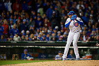 Chicago Cubs pitcher Aroldis Chapman (54) gets ready to deliver a pitch in the seventh inning during Game 5 of the Major League Baseball World Series against the Cleveland Indians on October 30, 2016 at Wrigley Field in Chicago, Illinois.  (Mike Janes/Four Seam Images)