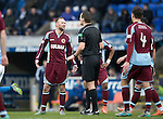 St Johnstone v Stenhousemuir…21.01.17  McDiarmid Park  Scottish Cup<br />Colin McMenamin is spoken to by referee Euan Anderson<br />Picture by Graeme Hart.<br />Copyright Perthshire Picture Agency<br />Tel: 01738 623350  Mobile: 07990 594431