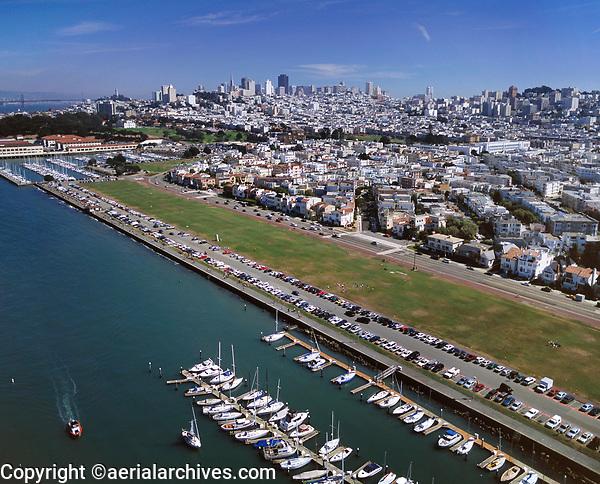 aerial photograph of a full parking lot at the Marina Green, San Francisco, California