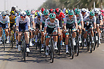 Cesare Benedetti (ITA) Bora-Hansgrohe on the front during Stage 1 of the 2021 UAE Tour the ADNOC Stage running 176km from Al Dhafra Castle to Al Mirfa, Abu Dhabi, UAE. 21st February 2021.  <br /> Picture: Luca Bettini/BettiniPhoto | Cyclefile<br /> <br /> All photos usage must carry mandatory copyright credit (© Cyclefile | Luca Bettini/BettiniPhoto)