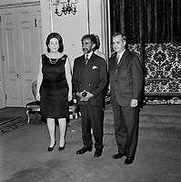 Jean-Jacques Bertrand lors de L'arrivee de Haile Selassie <br /> a Quebec, 3 mai 1967 en vue de l'Expo 67.<br /> <br /> Photo : Agence Quebec Presse