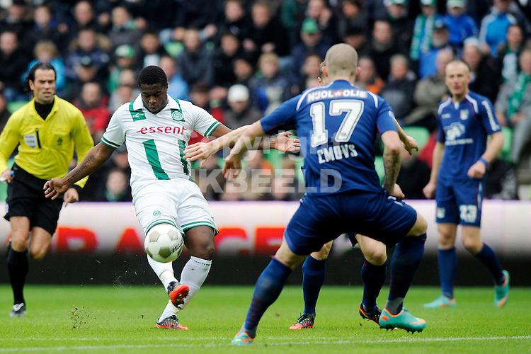 GRONINGEN - voetbal, FC Groningen - NEC, Eredivisie, Euroborg stadion, seizoen 2012-2013, 04-11-2012  uithaal van FC Groningen speler Genero Zeefuik,