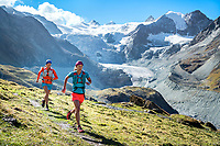 Trail running on the Via Valais, a multi-day trail running tour connecting Verbier with Zermatt, Switzerland. This is the section of trail from Lac de Moiry to Zinal.