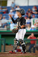 Batavia Muckdogs catcher Igor Baez (29) during a game against the State College Spikes on July 7, 2018 at Dwyer Stadium in Batavia, New York.  State College defeated Batavia 7-4.  (Mike Janes/Four Seam Images)