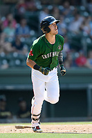 Left fielder Jordan Wren (3) of the Greenville Drive watches his two-run home run sail over the fence in a game against the West Virginia Power on Sunday, May 19, 2019, at Fluor Field at the West End in Greenville, South Carolina. Greenville won, 8-4. (Tom Priddy/Four Seam Images)