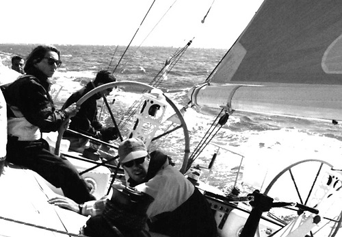 Clare at the helm of the Dubois 54 Stormbird