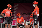 CCC Team catching up with the latest news at sign on before the start of Stage 5 of the 103rd edition of the Giro d'Italia 2020 running 225km from Mileto to Camigliatello Silano, Sicily, Italy. 7th October 2020.  <br /> Picture: LaPresse/Marco Alpozzi | Cyclefile<br /> <br /> All photos usage must carry mandatory copyright credit (© Cyclefile | LaPresse/Marco Alpozzi)
