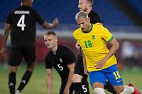 22nd July 2021; Stadium Yokohama, Yokohama, Japan; Tokyo 2020 Olympic Games, Brazil versus Germany; Richarlison of Brazil celebrates his hat trick goal in the 29th minute for 3-0
