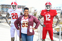 Washington, DC - Sunday JAN 26, 2020: A fan poses with manaquin displaying the DC Defenders uniform at the DC Defenders open house at  Audi Field in Washington, DC. (Photo by Phil Peters/Media Images International)