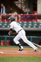 Erie Seawolves shortstop Harold Castro (1) at bat during a game against the Richmond Flying Squirrels on May 19, 2015 at Jerry Uht Park in Erie, Pennsylvania.  Richmond defeated Erie 8-5.  (Mike Janes/Four Seam Images)
