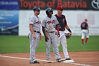 Tri-City ValleyCats Andy Pineda (12) with manager Morgan Ensberg (left) and third baseman Tyler Curtis (11) during a game against the Batavia Muckdogs on July 16, 2017 at Dwyer Stadium in Batavia, New York.  Tri-City defeated Batavia 13-8.  (Mike Janes/Four Seam Images)
