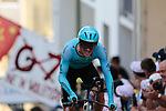 Jakob Fuglsang (DEN) Astana Pro Team on the 17% climb during Stage 13 of the 2019 Tour de France an individual time trial running 27.2km from Pau to Pau, France. 19th July 2019.<br /> Picture: Colin Flockton | Cyclefile<br /> All photos usage must carry mandatory copyright credit (© Cyclefile | Colin Flockton)