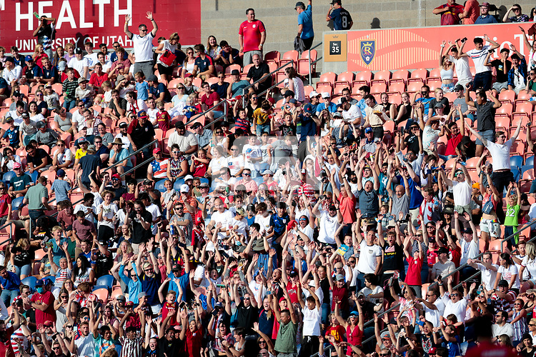 SANDY, UT - JUNE 10: USA supporters during a game between Costa Rica and USMNT at Rio Tinto Stadium on June 10, 2021 in Sandy, Utah.
