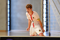 Isaac Bates of Hamilton Boys' High School celebrates after he scores during the Futsal NZ Secondary Schools Junior Boys Final between Hamilton Boys High School and Selwyn College at ASB Sports Centre, Wellington on 26 March 2021.<br /> Copyright photo: Masanori Udagawa /  www.photosport.nz