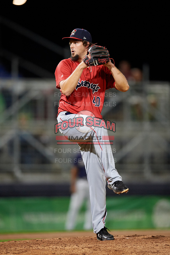 Portland Sea Dogs relief pitcher Josh Taylor (40) delivers a pitch during a game against the Binghamton Rumble Ponies on August 31, 2018 at NYSEG Stadium in Binghamton, New York.  Portland defeated Binghamton 4-1.  (Mike Janes/Four Seam Images)