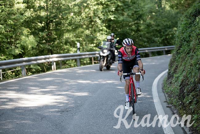 Julien Bernard (FRA/Trek-Segafredo) was part of the 13 man breakaway<br /> <br /> Stage 8: Cluses (FRA) to Champéry (SUI)(113km)<br /> 71st Critérium du Dauphiné 2019 (2.UWT)<br /> <br /> ©kramon