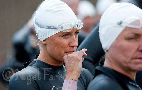 14 MAY 2010 - HOLME PIERREPONT, GBR - Jacqui Slack waits for the start of the VUE National Emergency Services Triathlon Championships (PHOTO (C) NIGEL FARROW)