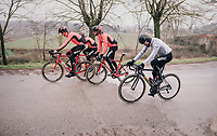 Greg Van Avermaet (BEL/BMC) & teammates starting their reconnaissance of the 12th Strade Bianche 2018