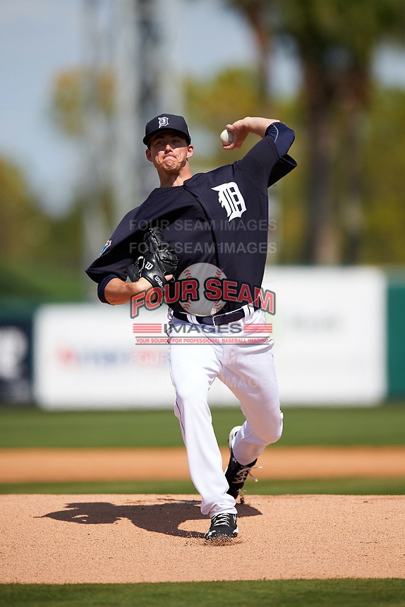 Detroit Tigers pitcher Kevin Ziomek (82) delivers a pitch during an exhibition game against the Florida Southern Moccasins on February 29, 2016 at Joker Marchant Stadium in Lakeland, Florida.  Detroit defeated Florida Southern 7-2.  (Mike Janes/Four Seam Images)