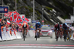 Collin Joyce (USA) Rally Cycling wins the sprint for Stage 2 of the 2018 Artic Race of Norway, running 195km from Tana to Kjøllefjord, Norway. 17th August 2018. <br /> <br /> Picture: ASO/Pauline Ballet | Cyclefile<br /> All photos usage must carry mandatory copyright credit (© Cyclefile | ASO/Pauline Ballet)