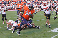 Nov 13, 2010; Charlottesville, VA, USA; Virginia Cavaliers fullback Terence Fells-Danzer (34) during the game against the Maryland Terrapins at Scott Stadium. Maryland won 42-23.  Mandatory Credit: Andrew Shurtleff