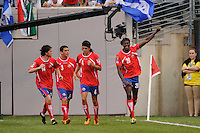 Dennis Marshall (20) of Costa Rica celebrates scoring. Honduras defeated Costa Rica on penalty kicks after playing to a 1-1 tie during a quarterfinal match of the 2011 CONCACAF Gold Cup at the New Meadowlands Stadium in East Rutherford, NJ, on June 18, 2011.
