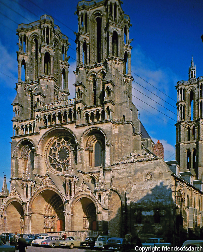 Laon Cathedral,located in Laon, Aisne, Hauts-de-France, France. Built in the twelfth and thirteenth centuries, it is one of the most important and stylistically unified examples of early Gothic architecture.