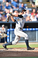 Charleston RiverDogs second baseman Gosuke Katoh #4 swings at a pitch during a game against the Asheville Tourists at McCormick Field July 26, 2014 in Asheville, North Carolina. The RiverDogs defeated the Tourists 8-7. (Tony Farlow/Four Seam Images)