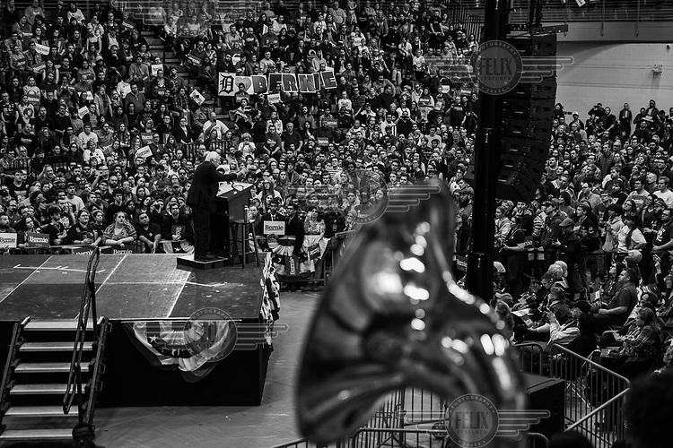 Democrat party presidential hopeful, Bernie Sanders, gives a speech in the Cass Tech high school gymnasium.