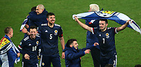 12th November 2020; Belgrade, Serbia; European International Football Playfoff Final, Serbia versus Scotland;  Scotland players celebrate victory after the penalty shootout with Scotland flag Callum McGregor, Lyndon Dykes, Declan Gallagher ,John McGinn