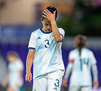 ORLANDO, FL - FEBRUARY 21: Eliana Stabile #3 of Argentina reacts to a Canadian goal during a game between Canada and Argentina at Exploria Stadium on February 21, 2021 in Orlando, Florida.