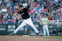 Louisville Cardinals pitcher Luke Smith (45) delivers a pitch to the plate during Game 12 of the NCAA College World Series against the Vanderbilt Commodores on June 21, 2019 at TD Ameritrade Park in Omaha, Nebraska. Vanderbilt defeated Louisville 3-2. (Andrew Woolley/Four Seam Images)