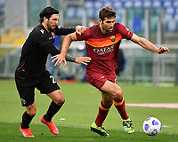 Football, Serie A: AS Roma - Bologna, Olympic stadium, Rome, April 11, 2021. <br /> Roma's Federico Fazio (r) in action with Bologna's Roberto Soriano (l) during the Italian Serie A football match between AS Roma and Bologna at Rome's Olympic stadium, Rome, on April 11, 2021.  <br /> UPDATE IMAGES PRESS/Isabella Bonotto