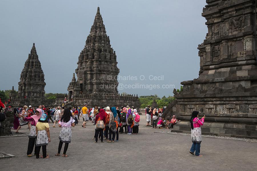 Yogyakarta, Java, Indonesia.  Indonesian Tourists Visiting the Prambanan Temples, a World Heritage Site.