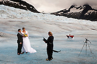 Wedding on the Mendenhall Glacier in  the Tongass National Forest.  A couple who met on the internet decided to be married in an unusual way--Diane Pearson of Pearson's Pond Spa and Inn arranges weddings by helicopter onto the glacier.  Many are tourists--Anna Hall and John Bohach from California were married on the first sunny day in Juneau in three weeks.