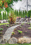 Rock path in professionally landscaped garden.