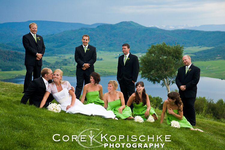Wedding party formals over lake Catamount at Bellavista Steamboat Colorado.