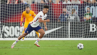 NASHVILLE, TN - SEPTEMBER 5: Antonee Robinson #5 of the United States moves across the goal mouth during a game between Canada and USMNT at Nissan Stadium on September 5, 2021 in Nashville, Tennessee.
