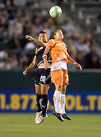 Sky Blue defender Megan Schnur and LA Sol's Camille Abilly battle in the air. The LA Sol defeated Sky Blue FC 1-0 at Home Depot Center stadium in Carson, California on Friday May 15, 2009.   .