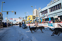 Richie Diehl and team leave the ceremonial start line with an Iditarider and handler at 4th Avenue and D street in downtown Anchorage, Alaska on Saturday March 4th during the 2017 Iditarod race. Photo © 2017 by Brendan Smith/SchultzPhoto.com.