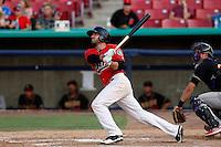 Daniel Paolini #2 of the High Desert Mavericks bats against the Modesto Nuts at Stater Bros. Stadium on June 29, 2013 in Adelanto, California. Modesto defeated High Desert, 7-2. (Larry Goren/Four Seam Images)