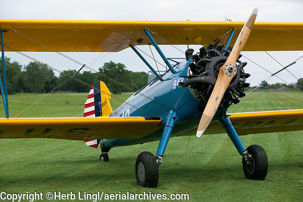 1941 Stearman, PT-13B, N2067R, at the grass runway at the Flying V Ranch Airport (T26) in Louise, Texas