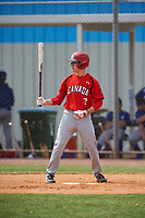 Canada Junior National Team David Calabrese (7) bats during an exhibition game against the Toronto Blue Jays on March 8, 2020 at Baseball City in St. Petersburg, Florida.  (Mike Janes/Four Seam Images)