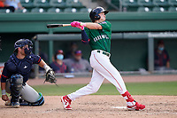 Center fielder Tyler Esplin (25) of the Greenville Drive during a game against the Bowling Green Hot Rods on Sunday, May 9, 2021, at Fluor Field at the West End in Greenville, South Carolina. The catcher is Erik Ostberg (21). (Tom Priddy/Four Seam Images)